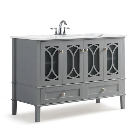 Paige 48 inch Bath Vanity in Warm Grey with White Engineered Marble Top