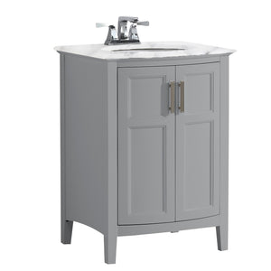 Winston 24 inch Rounded Front Bath Vanity in Warm Grey with Bombay White Engineered Marble Top