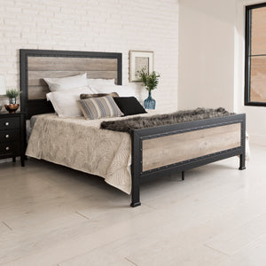 Queen Size Industrial Wood and Metal Bed - Grey Wash