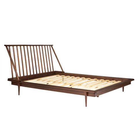 Modern Wood Queen Spindle Bed - Walnut
