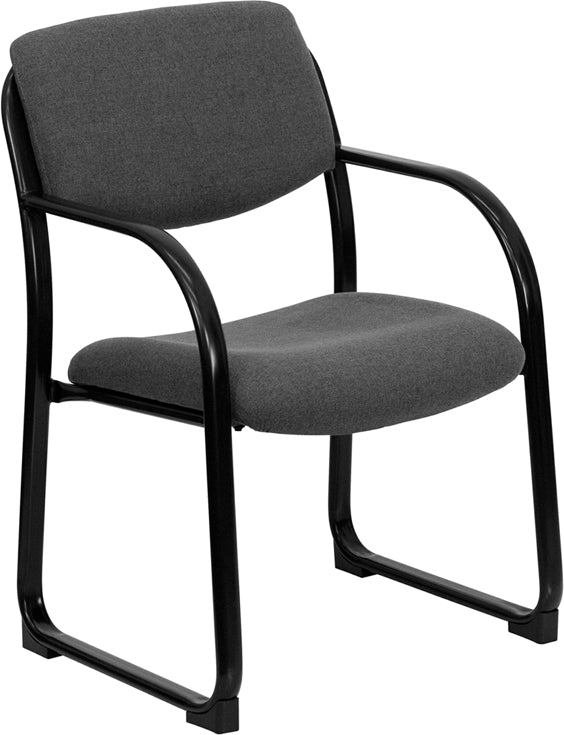 Gray Fabric Executive Side Reception Chair with Sled Base - BT-508-GY-GG