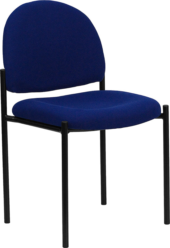 Comfort Navy Fabric Stackable Steel Side Reception Chair - BT-515-1-NVY-GG
