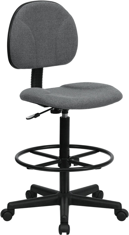 Gray Fabric Drafting Chair (Cylinders: 22.5''-27''H or 26''-30.5''H) - BT-659-GRY-GG