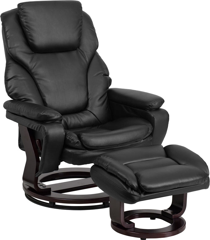 Contemporary Black Leather Recliner and Ottoman with Swiveling Mahogany Wood Base - BT-70222-BK-FLAIR-GG