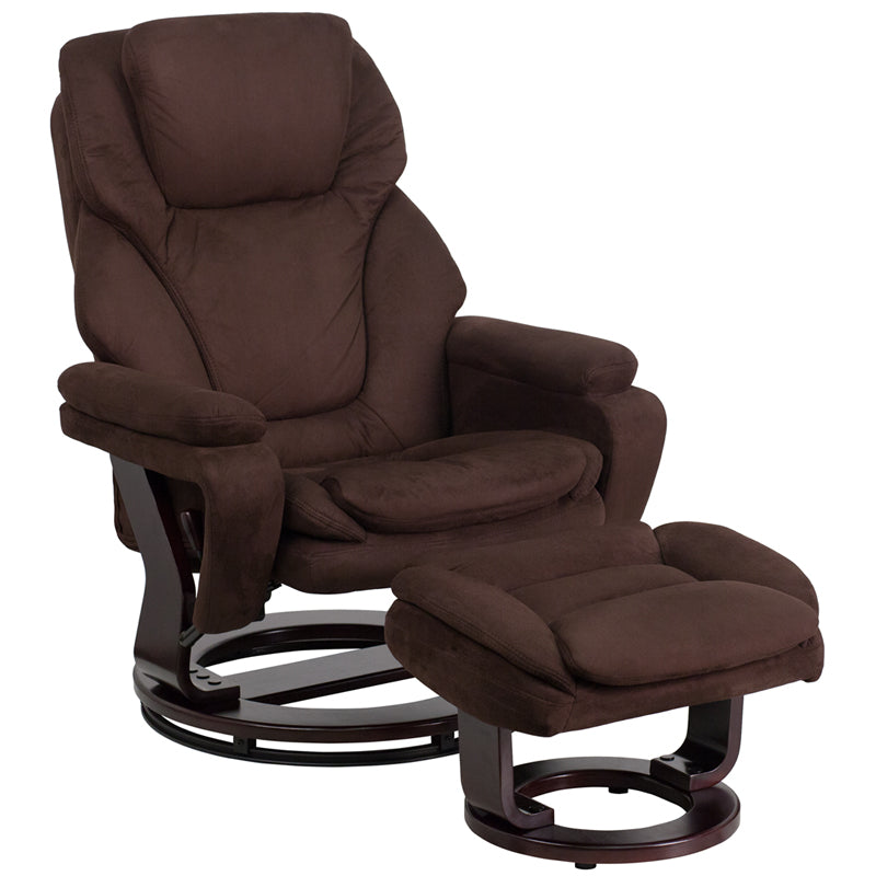Contemporary Brown Microfiber Recliner and Ottoman with Swiveling Mahogany Wood Base - BT-70222-MIC-FLAIR-GG