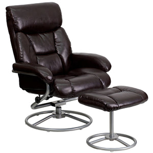 Contemporary Brown Leather Recliner and Ottoman with Metal Base - BT-70230-BRN-CIR-GG