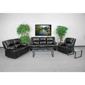 Harmony Series Black Leather Reclining Sofa Set - BT-70597-RLS-SET-GG