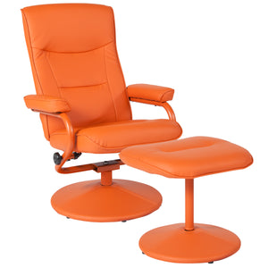 Chelsea Contemporary Recliner and Ottoman in Orange Vinyl