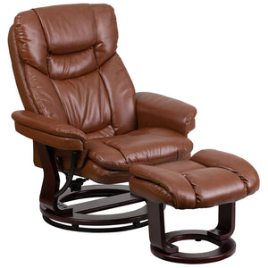 Contemporary Brown Vintage Leather Recliner and Ottoman with Swiveling Mahogany Wood Base - BT-7821-VIN-GG