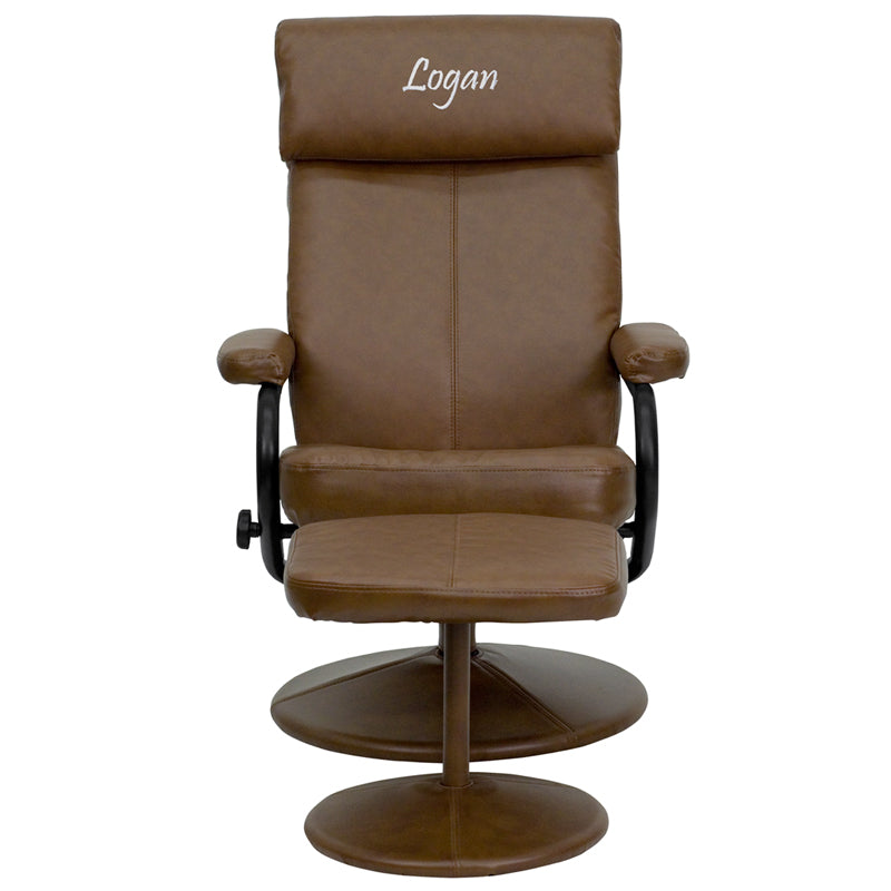 Personalized Contemporary Palomino Leather Recliner and Ottoman with Leather Wrapped Base - BT-7863-PALOMINO-TXTEMB-GG