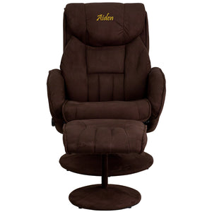 Personalized Contemporary Brown Microfiber Recliner and Ottoman with Circular Microfiber Wrapped Base - BT-7895-MIC-PINPOINT-TXTEMB-GG