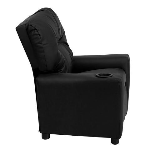 Contemporary Black Leather Kids Recliner with Cup Holder - BT-7950-KID-BK-LEA-GG