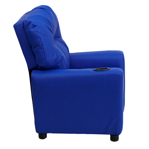 Contemporary Blue Vinyl Kids Recliner with Cup Holder - BT-7950-KID-BLUE-GG