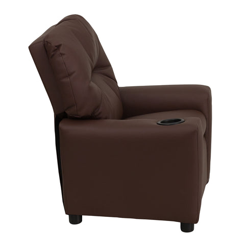Contemporary Brown Leather Kids Recliner with Cup Holder - BT-7950-KID-BRN-LEA-GG