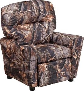 Contemporary Camouflaged Fabric Kids Recliner with Cup Holder - BT-7950-KID-CAMO-GG