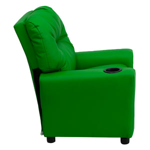 Contemporary Green Vinyl Kids Recliner with Cup Holder - BT-7950-KID-GRN-GG