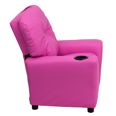 Contemporary Hot Pink Vinyl Kids Recliner with Cup Holder - BT-7950-KID-HOT-PINK-GG