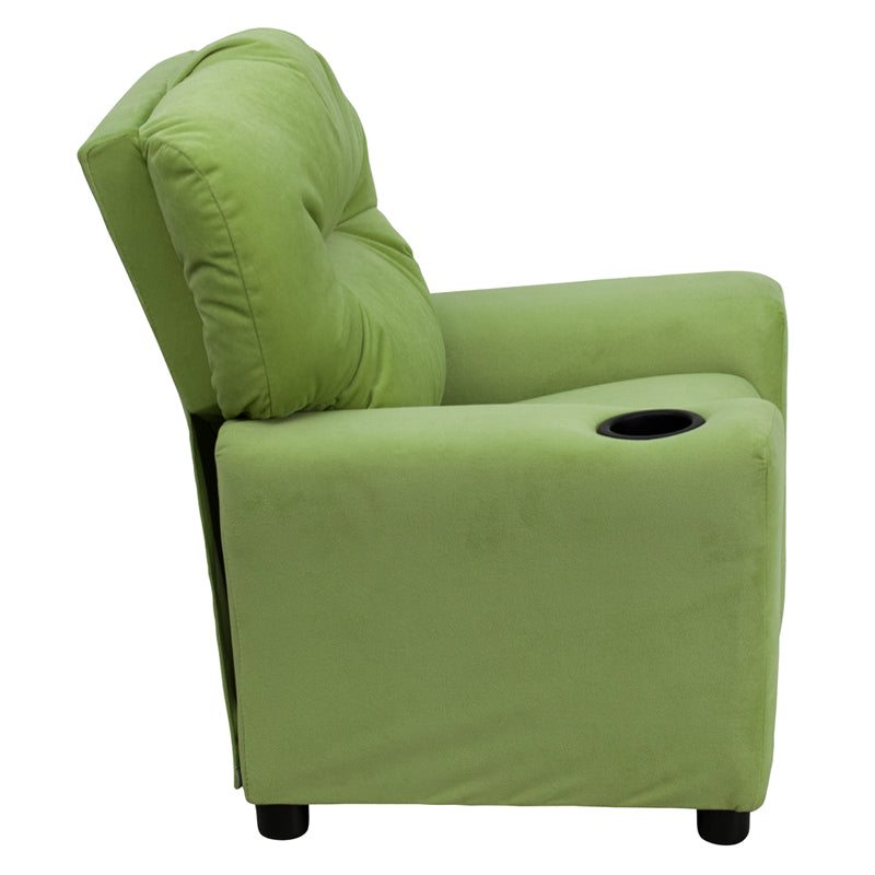 Contemporary Avocado Microfiber Kids Recliner with Cup Holder - BT-7950-KID-MIC-AVO-GG