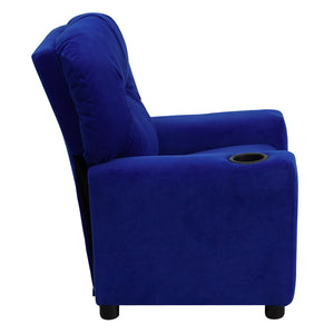 Contemporary Blue Microfiber Kids Recliner with Cup Holder - BT-7950-KID-MIC-BLUE-GG