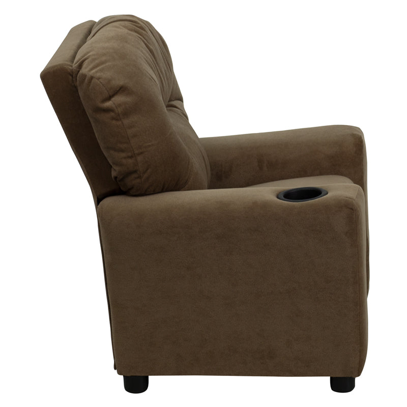 Contemporary Brown Microfiber Kids Recliner with Cup Holder - BT-7950-KID-MIC-BRWN-GG