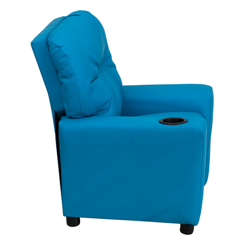 Contemporary Turquoise Vinyl Kids Recliner with Cup Holder - BT-7950-KID-TURQ-GG