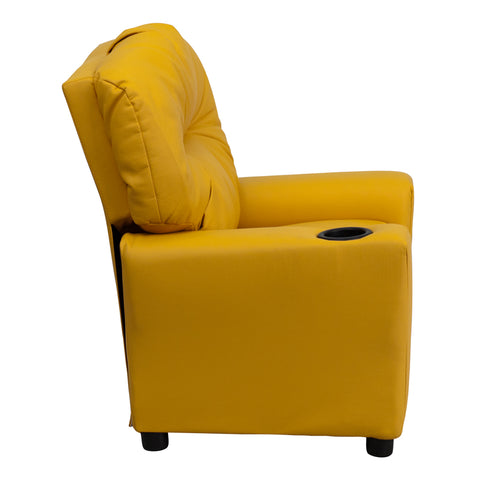 Contemporary Yellow Vinyl Kids Recliner with Cup Holder - BT-7950-KID-YEL-GG