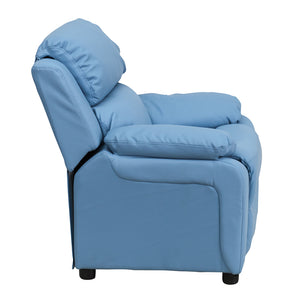 Deluxe Padded Contemporary Light Blue Vinyl Kids Recliner with Storage Arms - BT-7985-KID-LTBLUE-GG