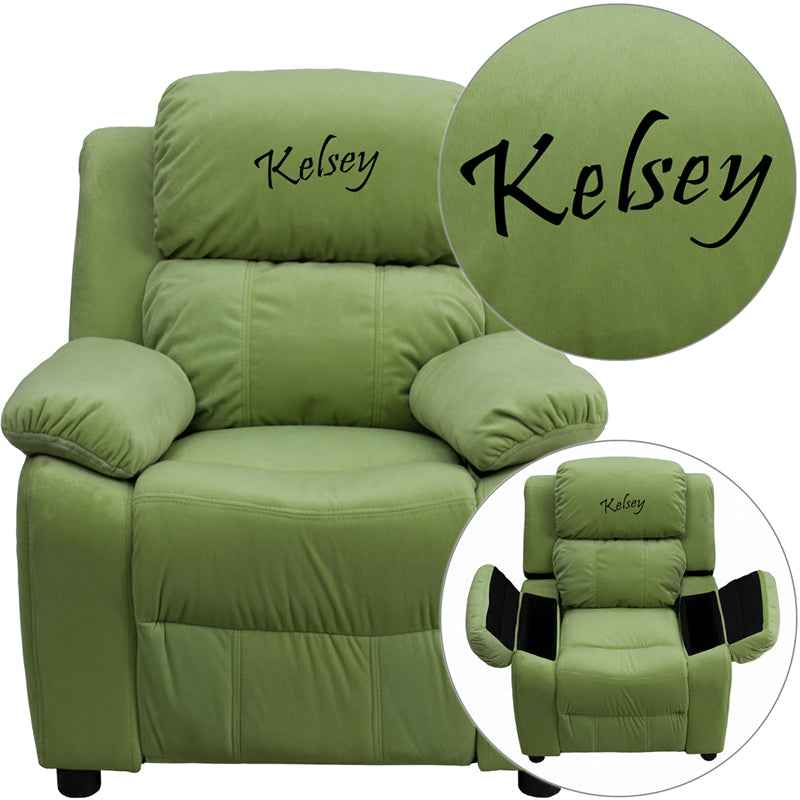 Personalized Deluxe Padded Avocado Microfiber Kids Recliner with Storage Arms - BT-7985-KID-MIC-AVO-TXTEMB-GG