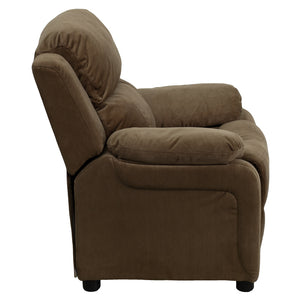 Deluxe Padded Contemporary Brown Microfiber Kids Recliner with Storage Arms - BT-7985-KID-MIC-BRN-GG