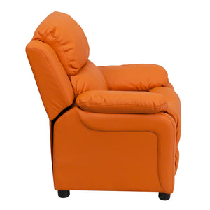 Deluxe Padded Contemporary Orange Vinyl Kids Recliner with Storage Arms - BT-7985-KID-ORANGE-GG