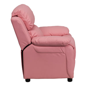 Deluxe Padded Contemporary Pink Vinyl Kids Recliner with Storage Arms - BT-7985-KID-PINK-GG