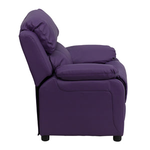 Deluxe Padded Contemporary Purple Vinyl Kids Recliner with Storage Arms - BT-7985-KID-PUR-GG