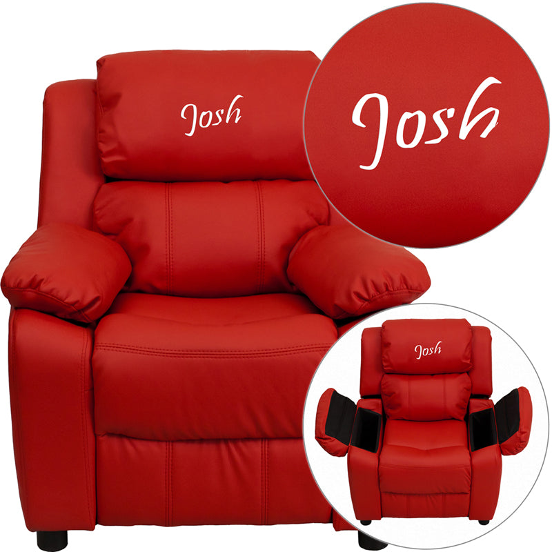 Personalized Deluxe Padded Red Vinyl Kids Recliner with Storage Arms - BT-7985-KID-RED-TXTEMB-GG