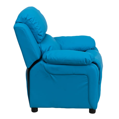 Deluxe Padded Contemporary Turquoise Vinyl Kids Recliner with Storage Arms - BT-7985-KID-TURQ-GG