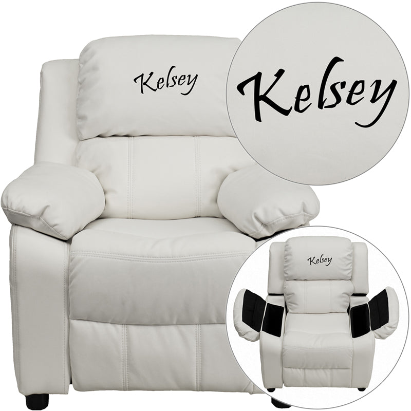 Personalized Deluxe Padded White Vinyl Kids Recliner with Storage Arms - BT-7985-KID-WHITE-TXTEMB-GG