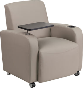 Gray Leather Guest Chair with Tablet Arm<li/><li> Front Wheel Casters and Cup Holder