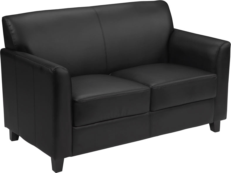 HERCULES Diplomat Series Black Leather Loveseat - BT-827-2-BK-GG