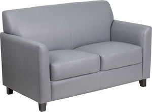 HERCULES Diplomat Series Gray Leather Loveseat - BT-827-2-GY-GG