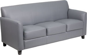 HERCULES Diplomat Series Gray Leather Sofa - BT-827-3-GY-GG