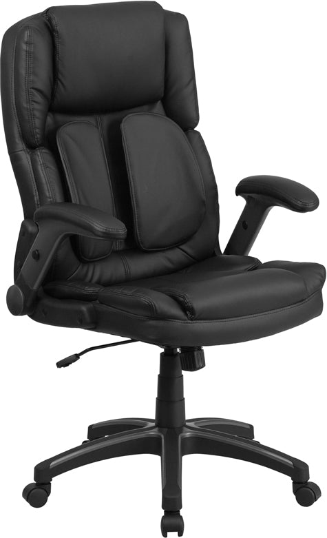 Extreme Comfort High Back Black Leather Executive Swivel Chair with Flip-Up Arms - BT-90275H-GG