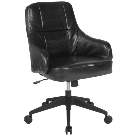 Dinan Home and Office Upholstered Mid-Back Chair in Black Leather