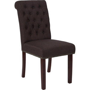 HERCULES Series Brown Fabric Parsons Chair with Rolled Back, Nail Head Trim and Walnut Finish