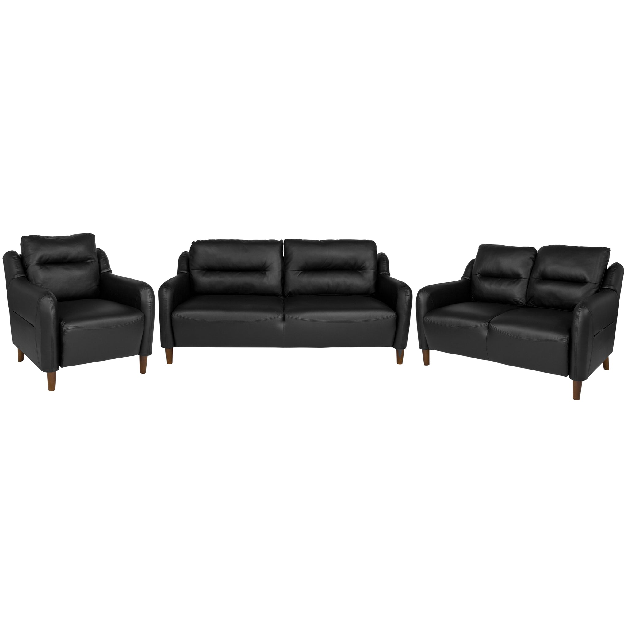 Newton Hill Upholstered Bustle Back Chair, Loveseat and Sofa Set in Black Leather