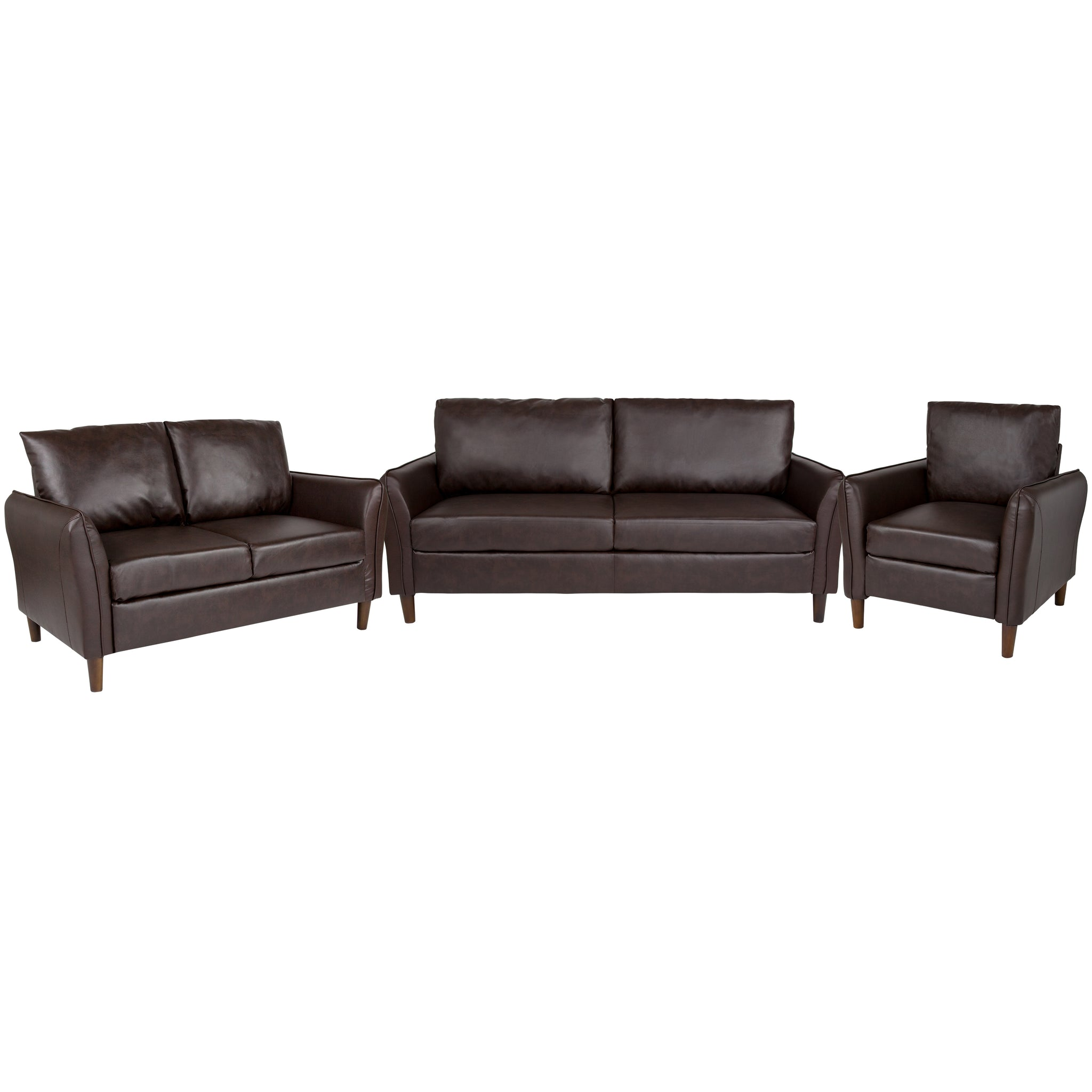 Milton Park Upholstered Plush Pillow Back Chair, Loveseat and Sofa Set in Brown Leather