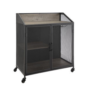 "33"" Industrial Bar Cabinet w/ Mesh - Grey Wash"