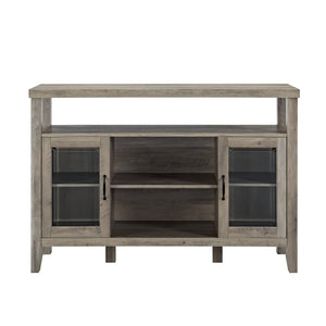 "52"" Modern Traditional Farmhouse Wood Console High Boy Buffet TV Stand - Grey Wash"