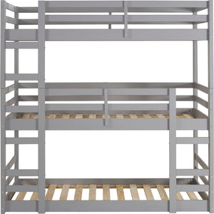 Solid Wood Triple Bunk Bed - Grey
