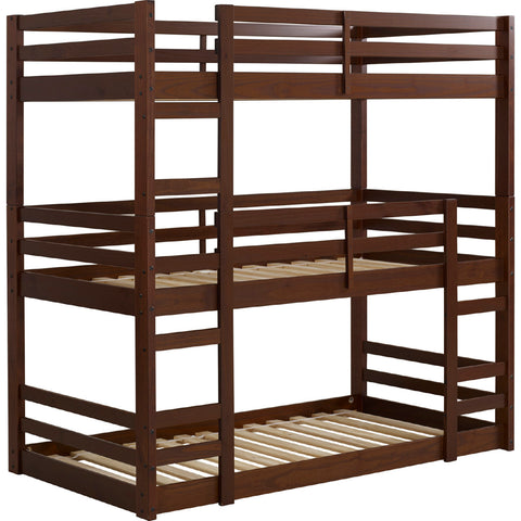 Solid Wood Triple Bunk Bed - Walnut