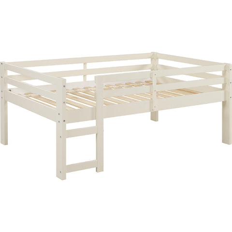 Solid Wood Low Loft Bed - White