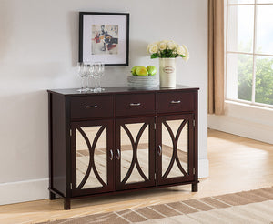 C1284 Espresso Wood Door & Drawer Console Table